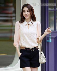 2013新しい到着快適な韓国スタイルスリムシフォンレースハーフスリーブスカート