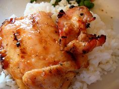 "Sticky Coconut Chicken. This was VERY good. It'l be a permanent addition to our menu. Careful with the glaze--it doesn't take long to go from ""thickening"" to burned! :)"