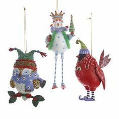 From the Christmas Whimsy Collection Item #C8398  Ornaments feature...