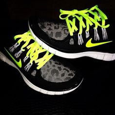 Perfect black and grey nike shoes with neon