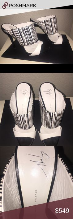 👠 Giuseppe Zanotti Mules Worn Once❣️ ⭐️ Gorgeous Giuseppe Zanotti Leather Mules ⭐️ Black & White ⭐️ Size 37.5 ⭐️ Worn Once ⭐️ Excellent Used Condition ⭐️ Dr Scholls Sole Protector Put on by Cobbler ⭐️ Pet-free & Smoke-free Home ⭐️ Quick Shipping ⭐️ Giuseppe Zanotti Shoes Heels