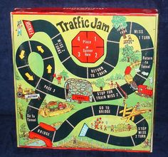 Traffic Jam - the game! Board Game Table, Old Board Games, Vintage Board Games, Game Boards, Retro Toys, Vintage Toys, Traffic Jam Game, Kids Graphic Design, Printable Board Games