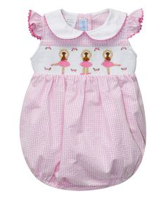 Another great find on #zulily! Pink Ballerinas Smocked Bubble Bodysuit - Infant #zulilyfinds