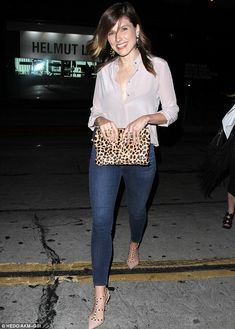 Valentino Rockstud Patent Sandal, Clare Vivier Flat Clutch, AG Adriano Goldschmied the Farrah Skinny Crop Jeans,