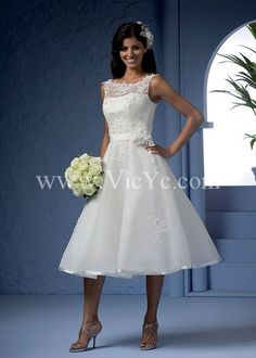 Fancy Short Wedding Dress with Lace Organza Layer and Satin Detailed Hemline, Best sellers Wedding Dresses - Vicyc.com $96.00