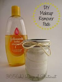 DIY Makeup Remover Pads make your own for a fraction of the cost and know what goes in them! 1 cup water 1 1/2 tbsp baby shampoo (no-tears solution) 1/8 tsp baby oil (or olive oil, vegetable oil, etc.) Round cotton pads Small canning jar with lid