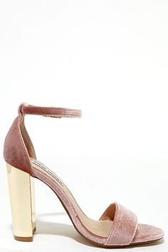 Upgrade your look with the Steve Madden Carrsonv Pink Velvet Ankle Strap Heels! Soft velvet shapes a minimal toe strap and adjustable ankle strap (with gold buckle). Gold mirrored heel adds all the glam to this classic silhouette.