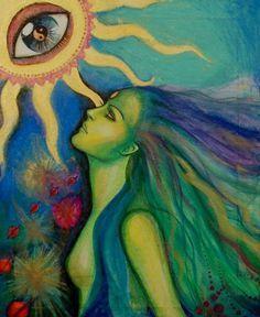 open your eye Artist unknown Psy Art, Goddess Art, Hippie Art, Hippie Drawing, Visionary Art, Psychedelic Art, Art Inspo, Fantasy Art, Cool Art
