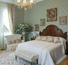 traditional master bedroom, ivory and seafoam, crystal chandelier.  custom bedding, fine lighting DesignNashville.com