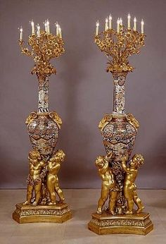 Pair of Napoleon III Gilt-Bronze Mounted Imari Porcelain Eleven-Light Candelabra on Giltwood Bases - French   c.1850 by dee