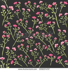 watercolor pink flower seamless pattern background perfect for cover book, fabric pattern, textile pattern, templates, and wallpaper