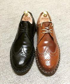 Heinrich Dinkelacker 最後はBudaですブラックはカーフです福岡のBRANCHというお店で買いましたなかなか実物を目にできず感慨深く買ったのを覚えてます右は今年買ったばかり大阪のアイダスさんで最後の1足と聞いて勢いづいたものです 見た目と違って履き心地の軽い靴です #heinrichdinkelacker #heinrichdinkelackerbuda #buda #shoes #shoecare #cordovan #whiskycordovan #ハインリッヒディンケラッカー #ハインリッヒディンケルアッカー #ブダ #紳士靴 #革靴 #靴磨き #コードバン #ウイスキーコードバン