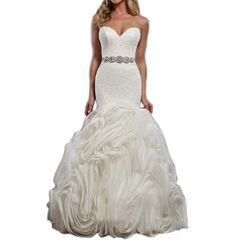 Ikerenwedding Sweetheart Women's Pleated Mermaid Wedding Dress with Crystal Belt -- Check out the image by visiting the link. (This is an affiliate link) #WeddingPartyDress