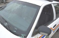 An RCMP officer was injured and his police car damaged early this morning when he tried to intercept two moose travelling through the city.