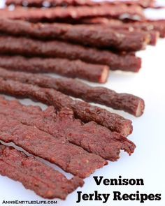 Recipes for making venison jerky (deer meat jerky) with step by step instructions.or maybe grass fed beef jerky? Smoker Jerky Recipes, Venison Jerky Recipe, Venison Recipes, Elk Jerky Recipe Dehydrator, Venison Sticks Recipe, Food Dehydrator, Roast Brisket, Beef Tenderloin, Venison Jerky Seasoning Recipe