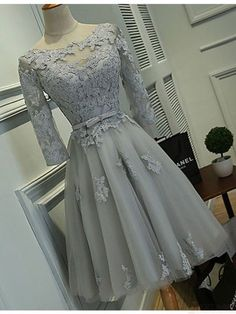 Long Sleeves Homecoming Dresses, Grey Lace Homecoming Dresses, Short Cheap Homecoming Dresses, sold by Oktypes. Shop more products from Oktypes on Storenvy, the home of independent small businesses all over the world. Dresses Short, Prom Dresses With Sleeves, Ball Dresses, Evening Dresses, Sexy Dresses, Formal Dresses, Summer Dresses, Dresses 2016, Bandage Dresses
