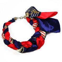 Šátek-náhrdelník Florina 299flo009-30.20 - modročervený - Bijoux Me! 💍 Originální česká bižuterie a šperky. Eshop i kamenná prodejna v Praze ✓