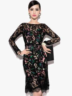 Printed Scoop Neck Long Sleeves Cut Out Backless Black Party Dress