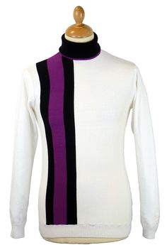 'LEWIS' MENS RETRO SIXTIES RACING STRIPE MOD ROLL NECK PULLOVER by MADCAP ENGLAND - Mens natural (ec