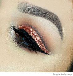 Awesome orange glitter and cat eye