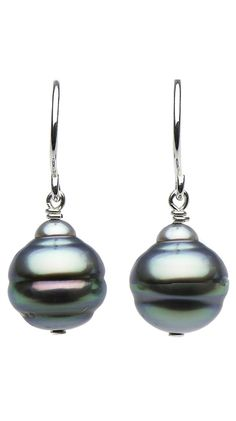 Silver Tahitian Baroque Pearl Dangle Earrings by Pure Pearls