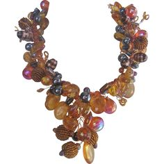 Statement Art Glass Beaded Necklace