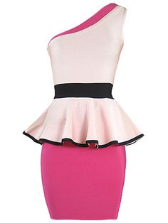 One Shoulder Sexy Pink Color Contrast Bodycon Bandage Dress . Shop Now At http://misscircle.com/Dresses/Bandage-Dress/One-Shoulder/One-Shoulder-Sexy-Pink-Color-Contrast-Bodycon-Bandage-Dress.html