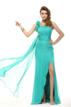 Sheath/Column One Shoulder Zipper Sleeveless Hunter Long Formal Dresses
