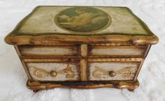 Vintage Gold and White Painted Wood Musical Jewelry Box with Victorian Woman by RadiogirlCarolyn on Etsy