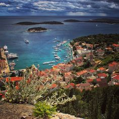 Dramatic sky over the Hvar town view from the Fortica fortres photo: @petarfadic