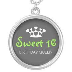 Sweet Sixteen Birthday Queen - Lime Green and Gray Silver Plated Necklace