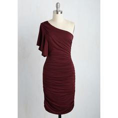 Mid-length One Shoulder Sheath Tasting Room Dress ($60) ❤ liked on Polyvore featuring dresses, one shoulder cocktail dress, single shoulder dress, burgundy dress, side ruched dress and sheath dress