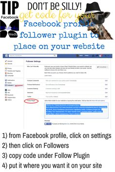 Don't be silly, get code for your Facebook profile so #FollowerPlugin shows on your site #SocialMediaTips
