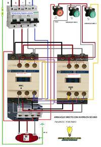 Esquemas eléctricos: arranque con inversion de giro pasando por paro