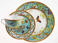 'Siesta Blue' Dinnerware by Hermes Tea Cup Saucer, Tea Cups, Ceramic Tableware, Royal Copenhagen, China Patterns, Vintage China, Fine China, China Porcelain, Tea Time