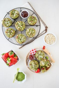 Strawberry Oat Matcha Muffins | Thirsty For Tea