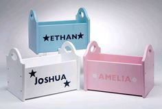 These tidy trugs make perfect gifts for newborn babies or older children. With their first name handpainted on the side with stars or flowers around it, they will know it is personally theirs and will make a great accessory in their bedrooms.