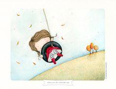 Fall, swing, outdoors, little girl... :) (stacey yacula studio: illustrations)