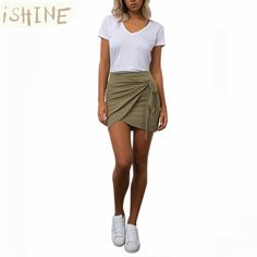 ISHINE Women Skirt Fashion 2017 Mini Skirts Knotted Irregular Casual Brand Feminina Mini Saias Faldas Jupe