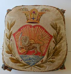 Fantastic Antique Tapestry Needlepoint Pillow with Lion Sabre and Crown – Q60 | eBay