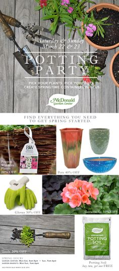 It's time to get things if full spring. Pick your pots. Pick your plants and create springtime containers with us. Enjoy big savings on all the items needed to create springtime containers or choose from our selection of pre-made containers. Garden Center Displays, Spring Starts, Lofoten, Potting Soil, Geraniums, Spring Time, Pots, Container, Gardens