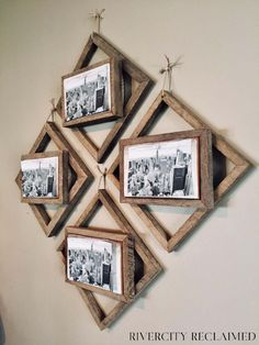 45+ Best Rustic Living Room Wall Decor Ideas and Designs for 2021 Diy Picture Frames On The Wall, Rustic Picture Frames, Picture Frame Crafts, Hanging Picture Frames, Reclaimed Wood Picture Frames, Decorate Picture Frames, Collage Picture Frames, Picture Hangers, Diy Wood Picture Frame