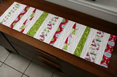 Modern Stripey Christmas Table Runner retro by QuiltsByEmily, $45.00