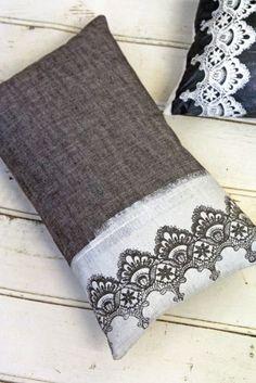 Hand Screen Printed Lace Cushion - White & Grey