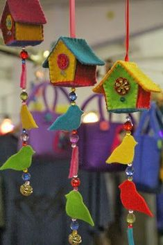 felt birds felt birdhouse ideas with wood - Yahoo Image Search Results Bird Crafts, Felt Crafts, Fabric Crafts, Diy And Crafts, Crafts For Kids, Felt Christmas, Christmas Crafts, Christmas Houses, Christmas Ornaments