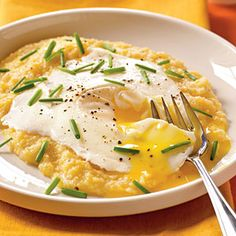 Eggs Blindfolded Over Garlic-Cheddar Grits   CookingLight.com #myplate #protein Eggs & grits make for quick and filling dinners. #DinnerDilemma #giveaway #sweepstakes