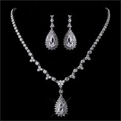 Silver Clear Cubic Zirconia Bridal Wedding Necklace & Earring Set
