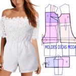 MACACÃO FÁCIL DE FAZER-8 | Moldes Dicas Moda Costura Fashion, Dress Sewing Patterns, Fashion Sewing, Sewing Hacks, Boho Chic, Ideias Fashion, Jumpsuit, Rompers, Womens Fashion