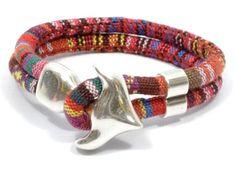 anchor ethnic bracelet * aztec fabric bracelet * anchor bracelet * beach jewelry * colorful ethnic bracelet * nautical bracelet by CozyDetailz on Etsy