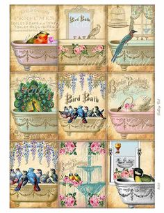 BIRD BATH Digital Collage Sheet Instant Download for by GalleryCat